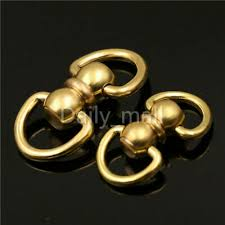 <b>Solid Brass Rotated</b> Double D ring Swivel Snap Connector ...