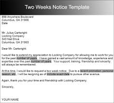 sample two weeks notice letter templates   creative designstwo weeks notice template