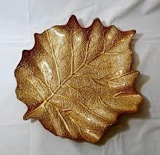 home decor plate x: large glass leaf plate serving dish platter gold leaf