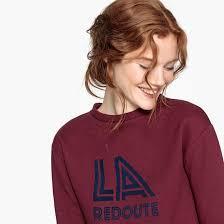 <b>Свитшот</b> велюровый с принтом спереди бордовый <b>La Redoute</b> ...