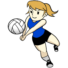 Cartoon Image of Girl playing volleyball