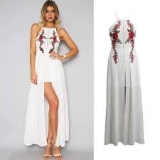 <b>Sexy Women</b> Long Split <b>Dress Floral</b> Embroidery Applique Cross ...
