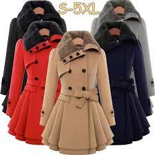 <b>5 Colors</b> Womens <b>Large Size</b> Winter Coat Double Buckle Slim ...