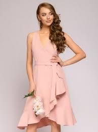 Платье цвета <b>пыльной розы</b> без рукавов с воланом по подолу ...