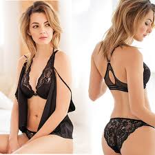 Deep V Lace <b>sexy</b> lingerie temptation female thin beauty back <b>bra</b> ...