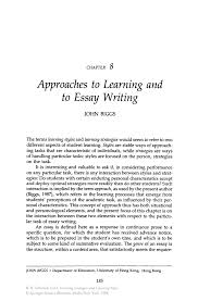 essays on learning styles learning styles essays and papers approaches to learning and to essay writing springerinside
