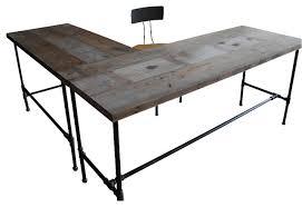 modern industry l shape reclaimed wood desk industrial desks decoration ideas shaped wood desks home