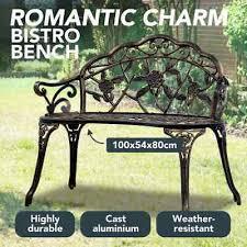 vidaXL <b>Bistro Bench 100cm</b> Bronze Cast Aluminium Patio Seat ...