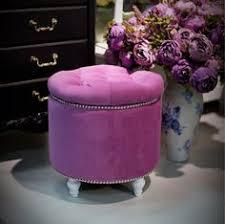 <b>Пуф</b> круглый Фиолетовый плюш Место для хранения. Массив ...