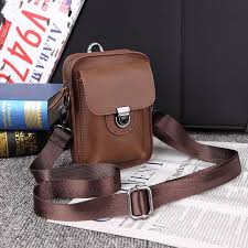 New Mini <b>Outdoor Leisure Leather</b> Shoulder <b>Mens</b> Phone Bag ...