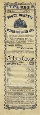america s shakespeare folger shakespeare library pamphlet playbill for a production of julius caesar in central park starring the booth brothers