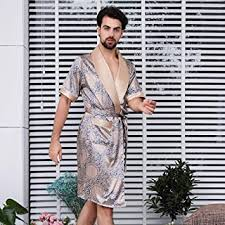 Size : L YONGYONG <b>Mens</b> 100% Cotton Nightgown <b>Spring and</b> ...