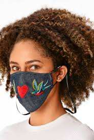 Shop <b>Bird and heart</b> embroidery cotton chambray shaped face mask ...