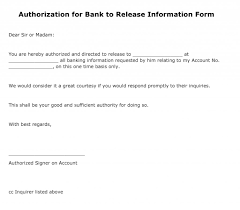 authorization for bank to release information form pdf authorization for bank to release information form