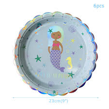 <b>Mermaid Party Supplies Paper Plates</b> Cups Tablecloth Straw First ...