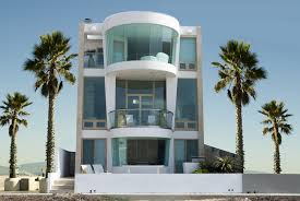 Beach House Designs from Around the World  PHOTOS Modern three story beach house   floor to ceiling windows and palm trees
