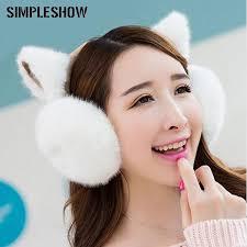 New <b>Fashion Cute</b> Ears Plush Earmuffs Comfortable <b>Warm</b> Earmuff ...