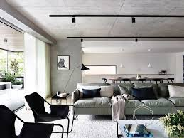 ceiling light track lighting neometro maa carr design walsh street apartment collaboration concrete ceilings black ceiling track lighting systems