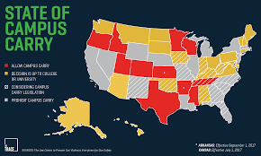 campus carry the movement to allow guns on college grounds explained another 23 states leave the decision of whether or not to allow firearms on campus up to individual universities and 17 have outright bans according to