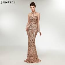 JaneVini 2018 Sparkly <b>Gold Sequined Long Bridesmaid</b> Dresses ...