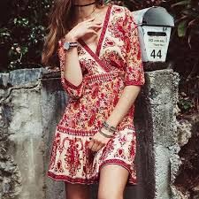 <b>Summer Mini V-neck</b> Floral Print Hippie Boho Beach Dress in 2019 ...