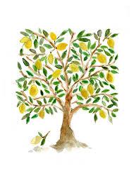 lemon tree x: art print the lemon tree folk art inspired print of watercolor  x