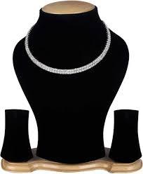 Wedlock Silver <b>Crystal Double</b> line Diamond <b>Rhinestone</b> Choker ...