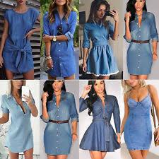 <b>Summer Denim Dresses</b> for <b>Women</b> for sale | eBay