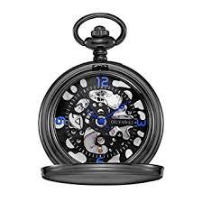 Buy <b>OUYAWEI</b> Pocket Watch Stainless Steel Case <b>Skeleton</b> Dial ...