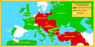 Resultado de imagen para mapa primera guerra mundial alianzas