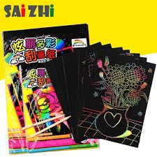 Saizhi 16K <b>10Pcs</b>/<b>Pack</b> Color Scratch Note Toy Scraping Paper ...