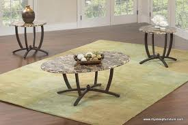 5033 <b>OVAL MARBLE LOOK COFFEE</b> TABLE WITH 2 SIDE TABLES ...