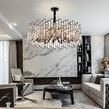 Rectangle chrome <b>crystal chandelier</b> lighting <b>modern</b> living room led ...