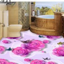 beibehang <b>Custom floor</b> decoration <b>painting 3D</b> pink roses butterfly ...
