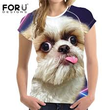 <b>FORUDESIGNS</b> Shih Tzu Print <b>T Shirts For Women</b> Top,Schnauzer ...