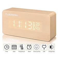 FLOUREON <b>Wooden LED</b> Cube <b>Digital</b> Desk <b>Alarm Clock</b> Calendar ...