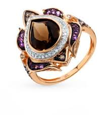 Золотое <b>кольцо</b> с коньячными <b>бриллиантами</b>, <b>раухтопазами</b> ...
