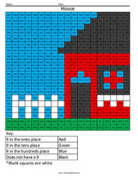 Place Value   Coloring Squared Place Value Worksheets House