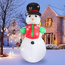 ShinyDec 8 ft. Oversize Christmas <b>Inflatable Snowman</b> with Gift, <b>LED</b> ...