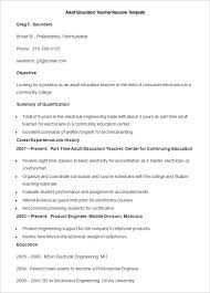 sample adult education teacher resume template teacher resume templates