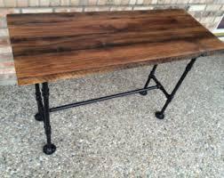 reclaimed kitchen table computer desk barn wood table solid oak w 28 black iron pipe legs customizable heights black iron pipe table