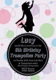 bounce trampoline kids birthday party invitations my invitation this trampoline party invite has birthday girl lucy jumping for joy jolly invites