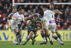 Jamie Gibson Julian Salvi of Leicester is tackled by Alex Corbisiero and Declan Danaher of London. Leicester Tigers v London Irish - Aviva Premiership - Jamie%2BGibson%2BLeicester%2BTigers%2Bv%2BLondon%2BIrish%2BS5KBx4fI5pol