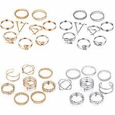 <b>8PCS</b>/SET Fashion Twist <b>Gold</b> Sliver Rings Set For <b>Women</b> Girls ...
