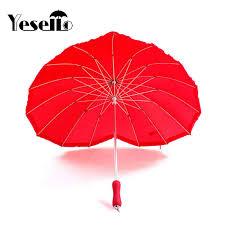Yesello <b>1pcs</b> red heart shape 16 ribs <b>peach</b> Folding Sunny and ...