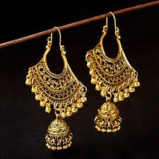 <b>TopHanqi</b> 2019 Boho <b>Indian Jhumka Jewelry</b> Geometric Hollow ...