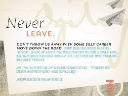 never leave don t throw us