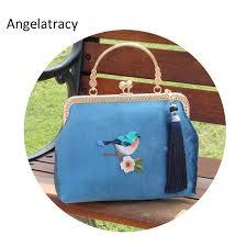 <b>Angelatracy</b> Handmade <b>Vintage</b> Velvet Clutch Bag with Bird ...