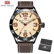 MINIFOCUS <b>Fashion Men Watches</b> Leather Strap <b>Men's</b> Wristwatch ...