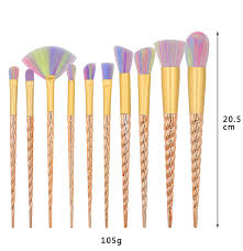 <b>Hot 10 PCS</b> Gold <b>Spiral</b> Colorful <b>Makeup</b> Brushes The Fan brush